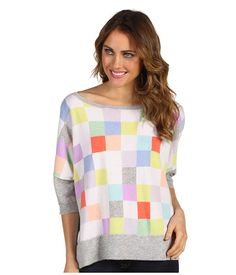 Autumn Cashmere - Rectangle Checkerboard Boatneck Top