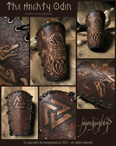 """The mighty Odin"" Leather wrist gauntlet. ***Not Available*** For custom orders please contact me at morgenland@gmail.com"