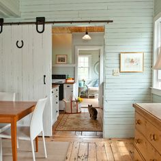 barn door, aqua plank walls