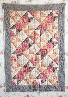 Harvest Moon Decorative Quilt - Love this quilt- good deal too! Strip Quilts, Quilt Blocks, Knit Purl Stitches, Hanging Quilts, Small Quilts, Kid Quilts, Half Square Triangle Quilts, Modern Vintage Fashion, Quilted Table Runners