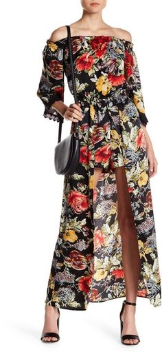 Flying Tomato Off-the-Shoulder Floral Maxi Romper