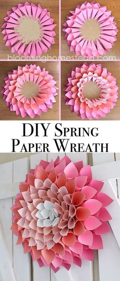 Check out this adorable and affordable DIY Spring Wreath tutorial.This paper dahlia wreath is so easy to make following this step by step tutorial.: