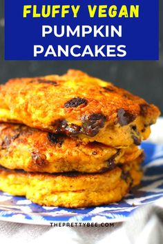 You can enjoy perfect pancakes even if you can't eat dairy or eggs! This is the best vegan pancake recipe. Pumpkin and chocolate chips make these extra delicious. #pancakes #eggfree #pumpkin #chocolatechip