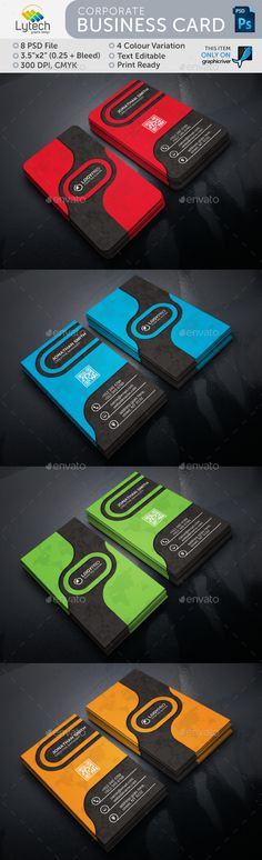 Corporate Vertical Business Card - Business Cards Print Templates