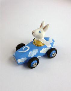 Mini Cloud Car with White Rabbit, Handmade Toy Car, Cloud Nine, Light Blue. $32.00, via Etsy.
