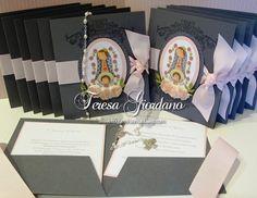 Invitaciones 6x6 de Primera Comunión con Virgencitas
