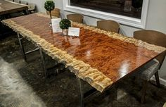 Extremely Rare Waterfall Bubinga Live Edge Dining Table