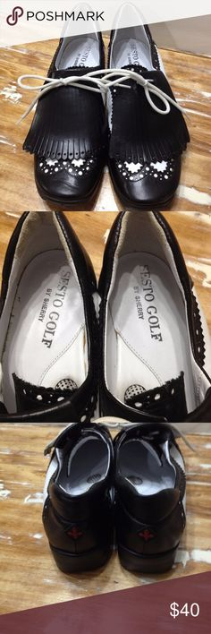 Sesto Golf by Sherry womans Sesto Golf by Sherry  woman's 6.5M  Black And White Leather  Wingtip  Made In Italy  Light wear Sesto Golf Shoes Athletic Shoes