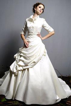 High Neckline Wedding Jacket 2409.Satin materith with high collar! $58.50