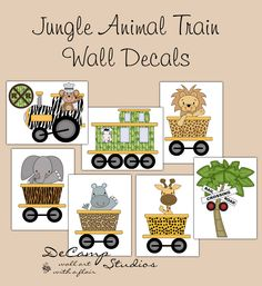 Jungle Animal Train Wall Decals for baby boy or girl nursery or children's room decor. Create your own jungle animal train. Includes a zebra, giraffe, elephant, monkey, lion, and hippo #decampstudios
