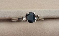 Blauwe saffier edelsteen 925 zilver ring