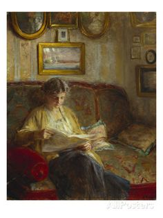 An Interior with a Woman Reading on a Sofa Giclee Print by Bertha Wegmann at AllPosters.com
