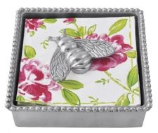 """Beaded Napkin Box with Bumblebee Weight  Item 2663-C    Price:$48.00 (Suggested Retail)  Materials:Recycled Sandcast Aluminum  Dimensions:5.75""""L x 5.75""""W x 1.5""""H"""