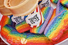 """Rainbow Tea Cookies  wackyCookies on Etsy, $19.95/12 Each tea cookie/biscuit is approximately 1.75 x 3 and and 1/4"""" thick. Hand-cut from an 85 year old family recipe, given a modern twist. Cookies are brilliant colors of the rainbow and are lightly dusted with disco dust to give them that little beautiful over the top """"POP"""