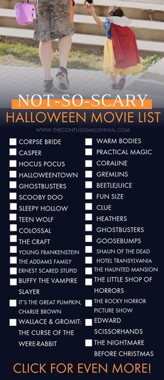 The Ultimate List of Halloween Movies from Scary to Not-So-Scary!] Die ultimative Liste der Halloween-Filme from Scary to Not-So-Scary!]halloween filme zu sehen Gruselfilme, nicht so gruselige Halloween-Filme, Halloween-Filme für Kinder,