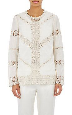 Embroidered-Lace-Inset Blouse