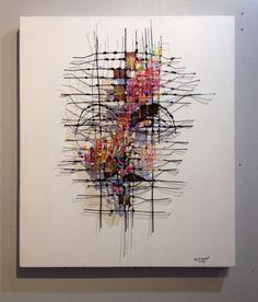 Mixed media art with colorful yarns by Alongkot InArt, Thai artist. 60x70x12 cm. Line id : lookmee95 E. alongkotv64@gmail.com
