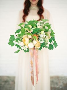 Peach, green and white wedding bouquet - natural organic wedding inspiration // Jenny Owens Photography // The Natural Wedding Company