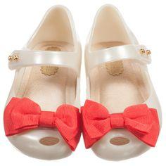 Ivory Jelly Shoes with Bow    Shop Mini Melissa @ www.studiokidz.ca