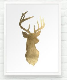 Deer oh Deer in Metallic Gold - 8x10 Hand Gilded Stag Head Silhouette Print - Decor for Dining Room Nursery Boho Chic via Etsy
