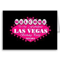 My Fabulous Las Vegas Birthday Party Card Pink