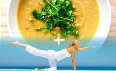 yoga oefening plus lichte knolselderij wortel soepje recept Feel Good Food, Paleo, Chinese, Smoothies, Lunch, Snacks, Ethnic Recipes, Om, Turmeric