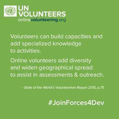 Online volunteering matches untapped global online talent with urgent development needs.  onlinevolunteering.org #JoinForces4Dev #SDGs