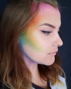 Rainbow contour; this could be interesting as halloween makeup, like for a mermaid or unicorn or something.