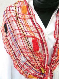 Schal Klöppelspitze Wolle rot Frau elegant design von UliBaysie