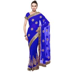 Blue Colored Stone Worked Faux Georgette Party Wear Saree Triveni
