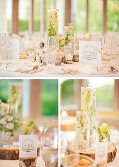 Cylinder vase wedding centerpieces.