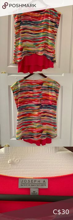 Joseph A. Short sleeve Rainbow top 💗 This top is bright and fun! Slight high low design with the back longer than the front— perfect for jeggings! Only worn a few times. True to size. Joseph A Tops Jeggings, Joseph, High Low, Rainbow, Bright, Times, Best Deals, Sleeve, Fun