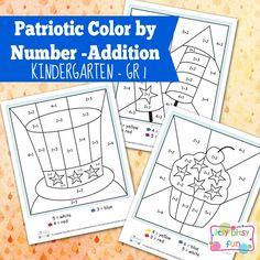 4th of July Color By Number Addition Kindergarten Worksheets