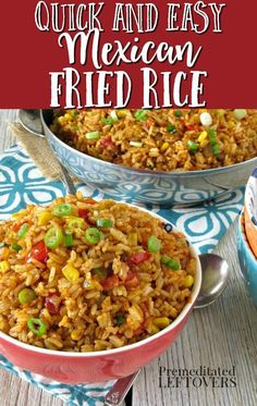 This Mexican Fried Rice recipe is a tasty twist on the traditional side dish. Cooked like fried rice for a crisper texture with the flavors of Mexican rice. Cooked Rice Recipes, Leftover Rice Recipes, Mexican Rice Recipes, Rice Recipes For Dinner, Easy Rice Recipes, Vegetarian Recipes Dinner, Side Dish Recipes, Cooking Recipes, Mince Recipes