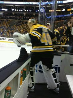 6/7/13 Tuukka Rask tipping the top puck onto the ice on his way out of the tunnel for warm ups before round 3 playoff game 4 at TD Garden vs Pittsburgh Pens.
