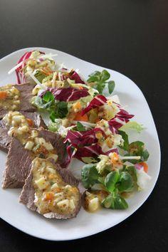 5 saveurs mélange gourmand et restes de pot-au-feu, sauce œuf dur aux abricots secs