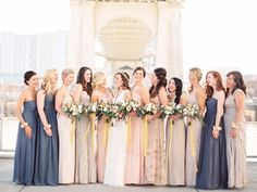 mixed palette bridesmaid dresses | Mix and Match Bridesmaids to Look Gorgeous | http://www.itakeyou.co.uk/wedding/mix-and-match-bridesmaids #bridesmaids