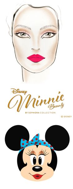 1960s Mod Minnie.  1. Apply Starlet over your eyelid from lash to crease. 2. Add Pick Me Up At 8 into the crease to create depth, then blend out edges. 3. Apply Pick Me Up At 8 to your lower lash line. 4. Using Minnie's Felt Eyeliner in black, create a cat eye on your upper lash line, bringing the liner down slightly past the inner corner of your eye. 5. Using the same felt liner, create a line under the lower lash line to complement the look. 6. Apply mascara.