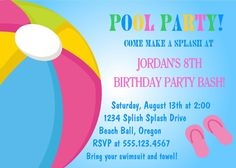 Pool Party Birthday Invitation / Printable by traditionsbydonna Pool Party Birthday Invitations, Printable Birthday Invitations, Birthday Parties, Invites, Summer Birthday, 12th Birthday, Girl Birthday, Pool Party Themes, Party Ideas