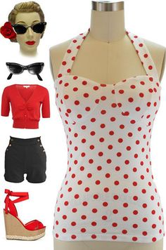 Brand new in store at Le Bomb Shop! Find them here: http://www.ebay.com/itm/50s-Style-PINUP-RED-White-POLKA-DOT-Halter-Top-Lightly-Padded-Cups-/141009835563?pt=US_CSA_WC_Shirts_Tops==item667aa2803a