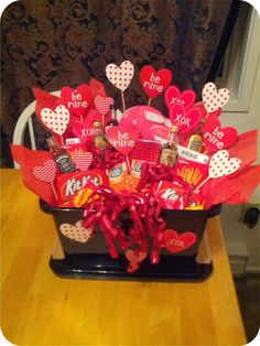 A Valentine's basket for him! Create your own custom gift and wow your Valentine. More ideas at trialbyoven.com