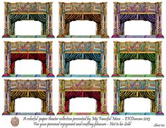 Altered Paper Theater and Curtains in a variety of colors by EKDuncan for download at http://www.ekduncan.com/2013/01/french-paper-theater-depinal-no1579_26.html# This image is a preview of how the assembled theaters could look. All images of Theaters and Curtains are separate so you can assemble one the way you want it. These assembled and altered versions are based on vintage Toy Theater paper sheets. Enjoy!