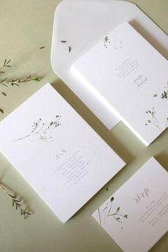 Botanical wedding watercolor invitations