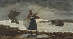 Winslow Homer (February 1836 – September was an American landscape printmaker and painter, famous for his marine subjects. Winslow is regarded as a top figure in American art and was one of the most respected painters in century America. Winslow Homer Paintings, Funny Tattoos, Famous Artists, Metropolitan Museum, American Artists, Architecture Art, Art History, Canvas, Illustration