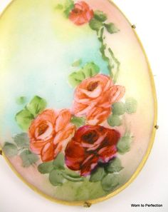 Victorian Brooch Hand Painted Roses by worn2perfection on Etsy, $185.00