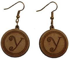 Curly Letter Y earrings with 1 inch wooden beads- gold plated EP Laser http://www.amazon.com/dp/B00FEPLGLS/ref=cm_sw_r_pi_dp_DAzawb0G7JQKY