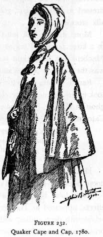 Quaker cape and cap, 1780,   image displayed with blanket permission from: www.costumes.org