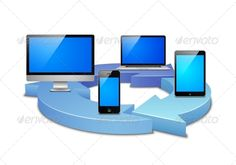 Digital synchronization of devices in the cloud vector illustration. Editable EPS and Render in JPG format