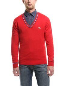 Lacoste L!VE Tipped V-Neck Jersey Sweater