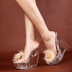 15-Cm-Super-alta-zapatillas-de-verano-las-flores-Zapatos-cristalinos- transparentes-de-cristal-cuñas e5f430b551c8